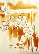 *582- Lavis teinte merisier La guinguette,20 x 30 sur papier Lana 150 gr