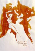 * 613- Lavis teinte merisier La guinguette,20 x 30 sur papier Lana 150 gr