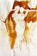 *633- Lavis teinte merisier La guinguette,20 x 30 sur papier Lana 150 gr