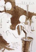 *562- Lavis teinte brou de noix. La guinguette,20 x 30 sur papier Lana 150 gr
