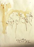 *585- Lavis teinte merisier La guinguette,20 x 30 sur papier Lana 150 gr