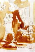 *649- Lavis teinte merisier La guinguette,20 x 30 sur papier Lana 150 gr