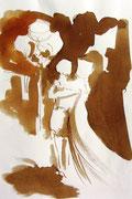 *563- Lavis teinte merisier La guinguette,20 x 30 sur papier Lana 150 gr