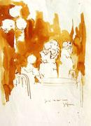 *596- Lavis teinte merisier La guinguette,20 x 30 sur papier Lana 150 gr
