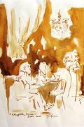 *642- Lavis teinte merisier La guinguette,20 x 30 sur papier Lana 150 gr