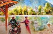 * 834- Remiremont, le Plan d'eau, la Fête de la Voie Verte, en direct, 50 x 70