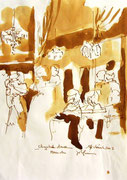 *597- Lavis teinte merisier La guinguette,20 x 30 sur papier Lana 150 gr