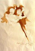 *618- Lavis teinte merisier La guinguette,20 x 30 sur papier Lana 150 gr