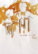 *589- Lavis teinte merisier La guinguette,20 x 30 sur papier Lana 150 gr