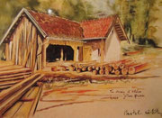 866- La scierie de la colline des eaux et son haut-fer, en direct, peinture en groupe.