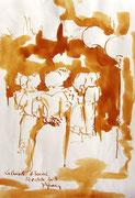 *577- Lavis teinte merisier La guinguette,20 x 30 sur papier Lana 150 gr