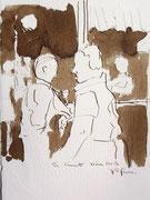 *561- Lavis teinte brou de noix, La guinguette,20 x 30 sur papier Lana 150 gr