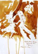 *606- Lavis teinte merisier La guinguette,20 x 30 sur papier Lana 150 gr