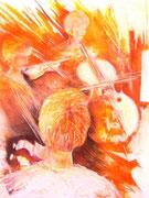 * 838- Les musiciens de l'orchestre à cordes d'Epinal, pastel,  50 x 70