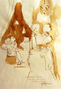 *620- Lavis teinte merisier La guinguette,20 x 30 sur papier Lana 150 gr