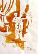 * 612- Lavis teinte merisier La guinguette,20 x 30 sur papier Lana 150 gr