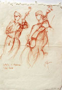 * 839- Les musiciens de l'orchestre à cordes d'Epinal, sanguine, 30 x 40