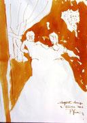 * 616- Lavis teinte merisier La guinguette,20 x 30 sur papier Lana 150 gr