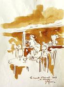 *579- Lavis teinte merisier La guinguette,20 x 30 sur papier Lana 150 gr