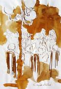 *591- Lavis teinte merisier La guinguette,20 x 30 sur papier Lana 150 gr