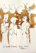 *573-1- Lavis teinte brou de noix. La guinguette,20 x 30 sur papier Lana 150 gr