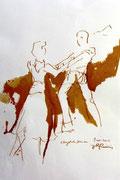 *645- Lavis teinte merisier La guinguette,20 x 30 sur papier Lana 150 gr