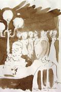 *564- Lavis teinte brou de noix;  La guinguette,20 x 30 sur papier Lana 150 gr