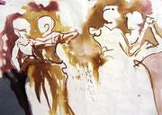 *654-1- Lavis teinte brou de noix. La guinguette,20 x 30 sur papier Lana 150 gr