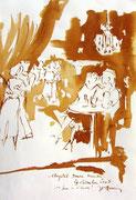 *609- Lavis teinte merisier La guinguette,20 x 30 sur papier Lana 150 gr