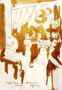 *604- Lavis teinte merisier La guinguette,20 x 30 sur papier Lana 150 gr
