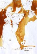 *624- Lavis teinte merisier La guinguette,20 x 30 sur papier Lana 150 gr
