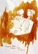 * 614- Lavis teinte merisier La guinguette,20 x 30 sur papier Lana 150 gr