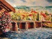 *836- Goumois, sur le Doubs,en direct  de la Fête des Peintres, 50 x 70