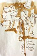 *558- Lavis teinte merisier La guinguette,20 x 30 sur papier Lana 150 gr