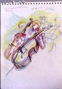 * 841- Les musiciens de l'orchestre à cordes d'Epinal, craies, 30 x 40