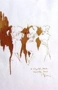 *639- Lavis teinte merisier La guinguette,20 x 30 sur papier Lana 150 gr