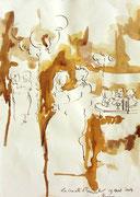 *556- Lavis teinte merisier La guinguette,20 x 30 sur papier Lana 150 gr