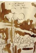 *573- Lavis teinte brou de noix. La guinguette,20 x 30 sur papier Lana 150 gr