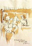 *557- Lavis teinte merisier La guinguette,20 x 30 sur papier Lana 150 gr