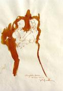 *631- Lavis teinte merisier La guinguette,20 x 30 sur papier Lana 150 gr