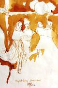 *648- Lavis teinte merisier La guinguette,20 x 30 sur papier Lana 150 gr