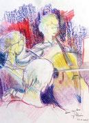 * 843- Les musiciens de l'orchestre à cordes d'Epinal, craies, 30 x 40