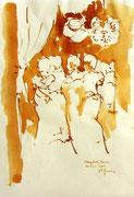 *629- Lavis teinte merisier La guinguette,20 x 30 sur papier Lana 150 gr