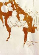 *622- Lavis teinte merisier La guinguette,20 x 30 sur papier Lana 150 gr