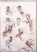 * 840- Les musiciens de l'orchestre à cordes d'Epinal, craie grise,  30 x 40