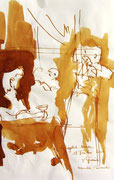 *621- Lavis teinte merisier La guinguette,20 x 30 sur papier Lana 150 gr