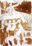 *594- Lavis teinte brou de noix. La guinguette,20 x 30 sur papier Lana 150 gr