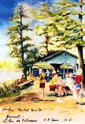 874- L'étang des 7 chevaux à Luxeuil, 1er prix d'un concours de peinture en direct