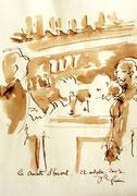 *574- Lavis teinte brou de noix. La guinguette,20 x 30 sur papier Lana 150 gr