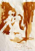 *605- Lavis teinte merisier La guinguette,20 x 30 sur papier Lana 150 gr